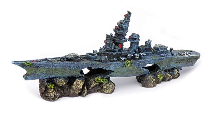 battleship fish tank ornament